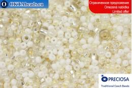 Preciosa czech seed beads white mix 8-10/0, ~50g