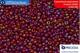 Preciosa czech seed beads red AB 10-11/0, ~50g