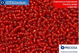 Прециоза чешский бисер красный с прокрасом серебром 10/0, ~50гр 2CR020