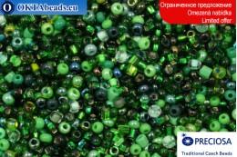 Прециоза чешский бисер зеленый микс 10-11/0, ~50гр 2CR052