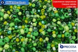 Preciosa czech seed beads green mix 8-10-11-15/0, ~50g