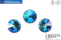 1122 SWAROVSKI Rivoli Chaton - Crystal Bermuda Blue 12mm, 1pc sw390
