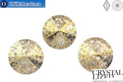 1122 SWAROVSKI Rivoli Chaton - Crystal Gold Patina 14mm, 1ks