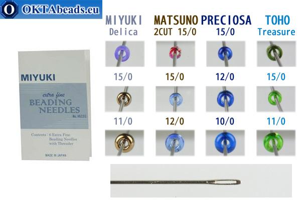 Miyuki beading needles extra fine, 6pc