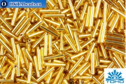 TOHO Beads Bugle Silver-Lined Med Topaz (22B) 9mm TB-03-22B