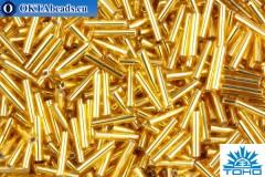TOHO Beads Bugle Silver-Lined Med Topaz (22B) 9mm