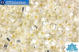 TOHO Beads Cube Silver-Lined Crystal (21) 4mm TC-04-21