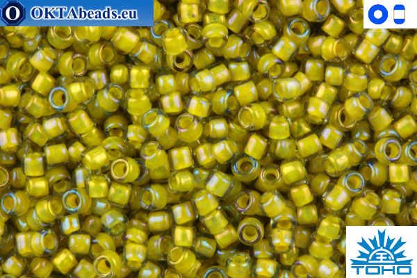 Toho Beads Inside-Color Luster Black Diamond/Opaque Yellow-Lined (246) 15/0