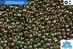 TOHO Beads Inside-Color Peridot/Fuschia Lined (250) 11/0