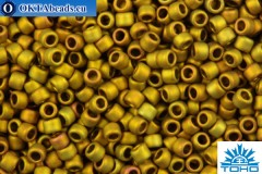 TOHO Beads Round Golden Green Metallic Matte (513F) 15/0