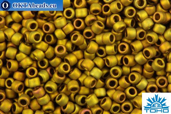 TOHO Beads Round Golden Green Metallic Matte (513F) 15/0 TR-15-513F