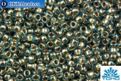 TOHO Beads Round Inside Color Aqua-Gold Lined (990) 15/0