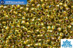 TOHO Beads Round Inside Color Rainbow Peridot-Gold Lined (996) 15/0