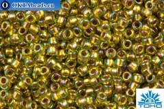 TOHO Beads Round Inside Color Rainbow Peridot-Gold Lined (996) 15/0