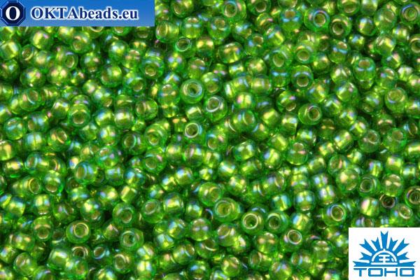 TOHO Beads Round Kelly Green Silver Lined Rainbow (2027) 11/0 TR-11-2027