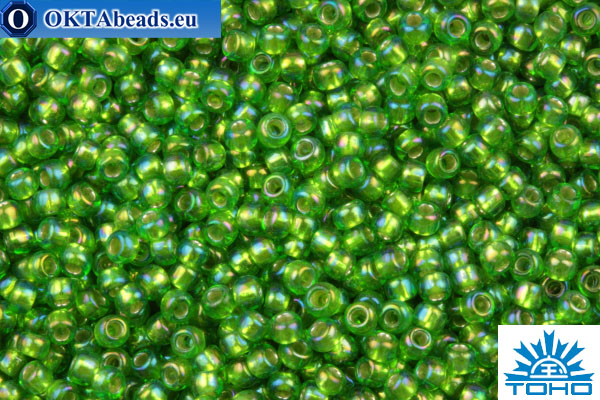 Kelly green Japanese Toho frosted 11//0 seed beads 10g, silver lined