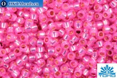 TOHO Beads Round PermaFinish Hot Pink Opal Silver Lined (PF2107) 15/0