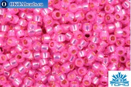 TOHO Beads Round PermaFinish Hot Pink Opal Silver Lined (PF2107) 15/0 TR-15-PF2107