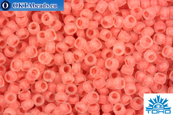 TOHO Beads Round Salmon Lined Crystal Rainbow Matte (779F) 15/0 TR-15-779F