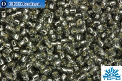 TOHO Beads Round Transparent Silver Lined Black Diamond (29) 15/0