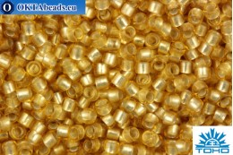 TOHO Beads Round Transparent Silver Lined Frosted Lt Yellow Amber (22F) 15/0 TR-15-22F