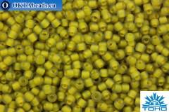 TOHO Beads Round Yellow Lined Light Olive Rainbow Matte (246F) 11/0