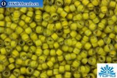TOHO Beads Round Yellow Lined Light Olive Rainbow Matte (246F) 15/0