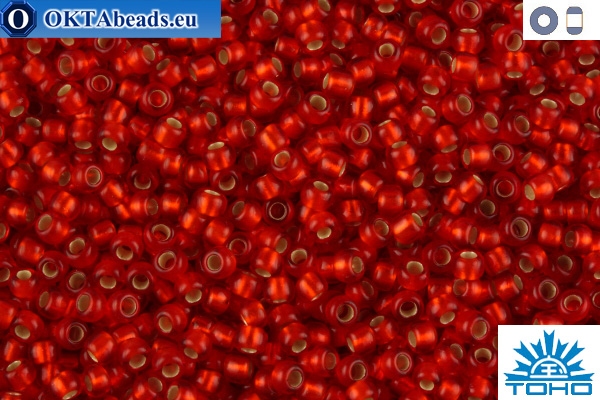 TOHO Beads Silver-Lined Frosted Lt Siam Ruby (25F) 11/0 TR-11-25F